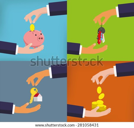 Vector flat design hands with objects. Images set, - stock vector