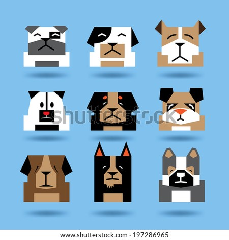 Vector Flat Design Head Dogs icons set, Minimalist Style  - stock vector