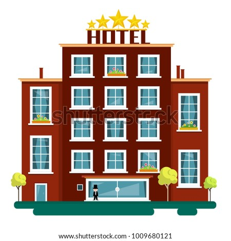 Vector Flat Design Hotel Illustration Isolated On White Background Hotels