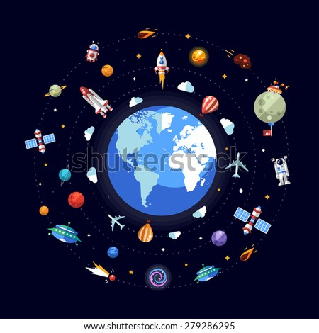 Vector flat design illustration of Earth and different infographics space elements and icons - stock vector