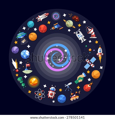 Vector flat design illustration of space icons and infographics elements - stock vector