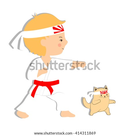 Vector flat design illustration, young boy and cat practicing martial arts on white background. Cartoon stylized kid in karate uniform, red belt and rising sun japanese headband. Cute karate kitten.  - stock vector