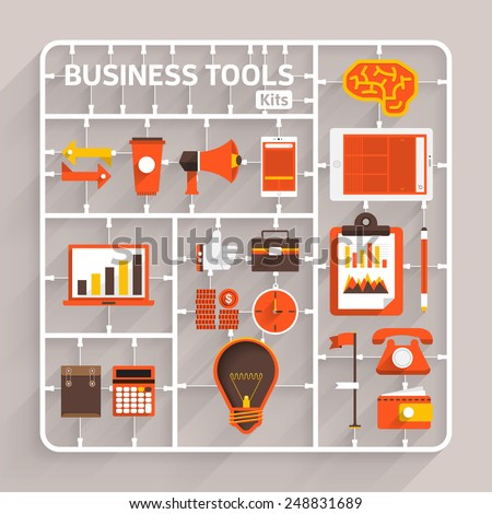 Vector flat design model kits for Business tools. Element for use to success creative thinking - stock vector