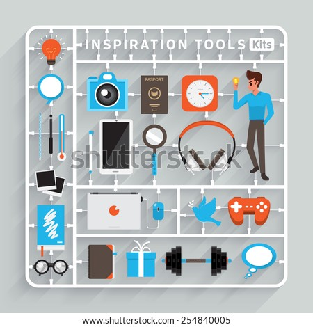 Vector flat design model kits for Inspiration Tools. Element for use to success creative thinking - stock vector