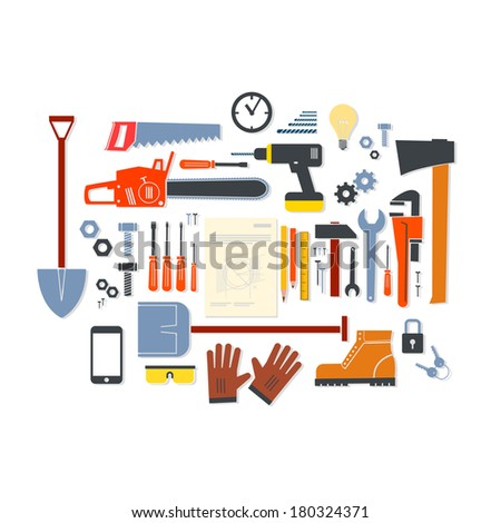 Vector flat design modern illustration icons set of craft, tools and equipment | craftsman infographics Isolated on white background - stock vector