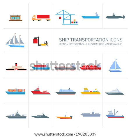 vector flat design ship and boats transportation icons set of colorful illustrations isolated o white background - stock vector