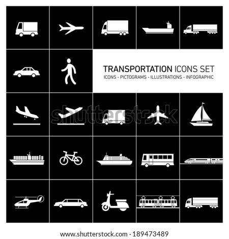 vector flat design simple transportation icons set and pictograms white isolated on black background - stock vector