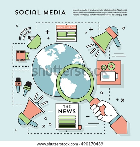 Vector Flat Design Social Media Icons and Elements with Magnifier Glass and Globe