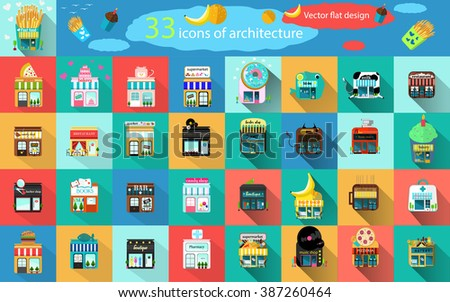 Vector flat design square architecture icons stock vector for Square fish publishing