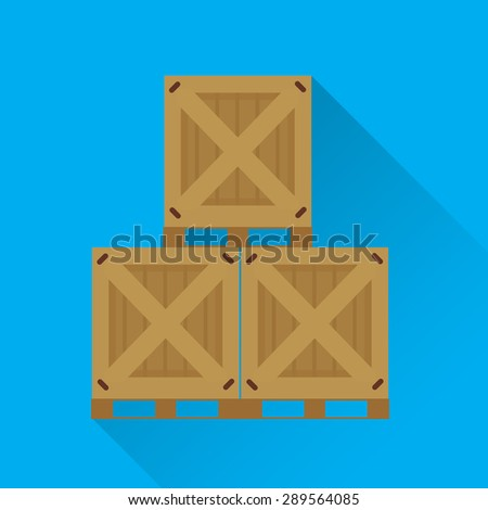 Vector flat design stacked wooden containers - stock vector