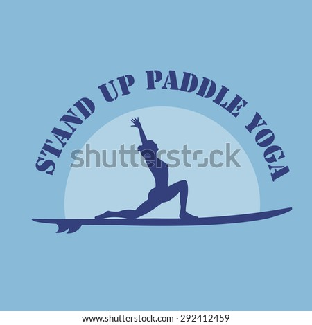 Vector flat design style illustration of stand up paddle yoga logotype. Template for postcard, personal card or print. - stock vector