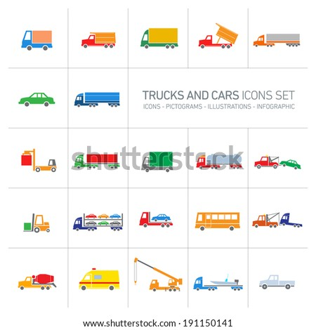 vector flat design trucks and cars transportation and shipping icons set modern colorful illustrations isolated on white background - stock vector