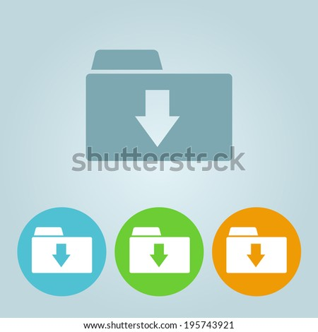 Vector flat folder icons - stock vector