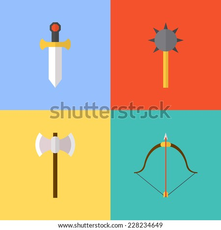 Vector flat game icons set. Medieval weapons - stock vector