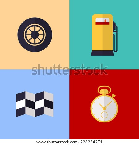 Vector flat game icons set. Racing items - stock vector
