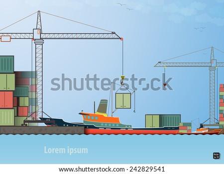 Vector flat global transportation concept illustration. Cargo ships in harbor loading tower crane eps 10 - stock vector