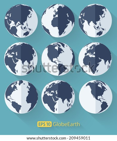 Vector flat globe earth icons.