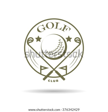 Vector flat golf logo design isolated on white background. Golfer stick. Golf player icon, sport logo, golfing club insignia, print design, any advertising sample.  - stock vector