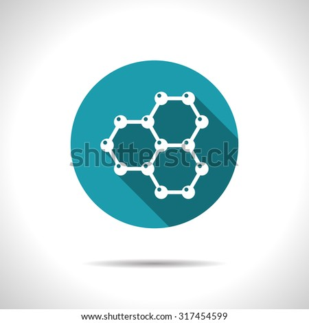 Vector flat graphene icon on color circle . Science illustration  - stock vector