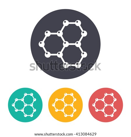 Vector flat graphene icon with set of 3 colors . Science illustration  - stock vector