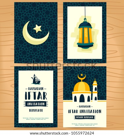 Vector flat hand drawn cartoon ramadan stock vector 1055972624 vector flat hand drawn cartoon ramadan stuff item and iftar invitation card template with pattern lantern stopboris Image collections