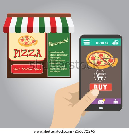 Vector flat.Hand holding smart phone, order pizza using a smartphone in pizzeria - stock vector
