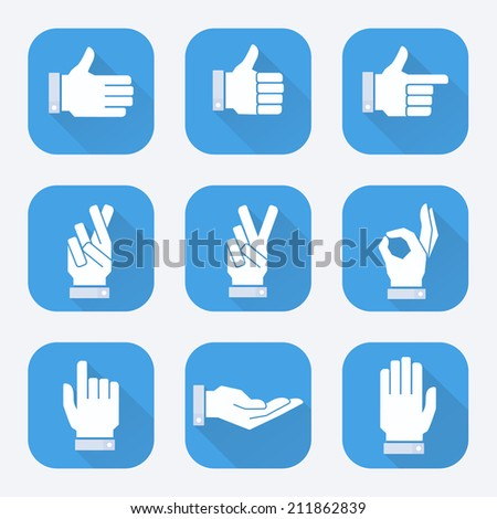 Vector flat hands icons set.