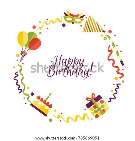 Vector Flat Happy Birthday Card Template Stock Vector 785869051