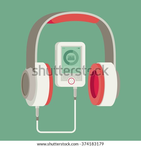 Vector flat headphones with player - stock vector