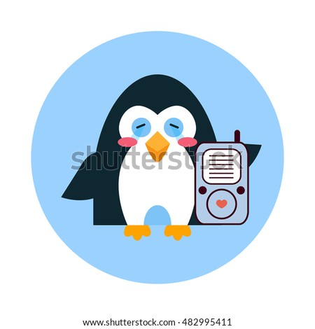 Funny Cartoon Penguin Glasses Badge Stock Vector 227772763 ...