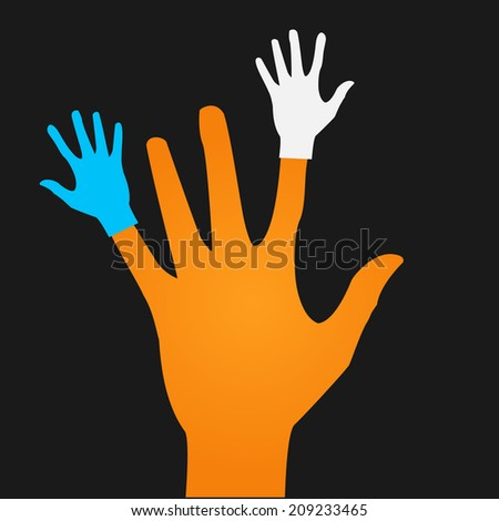 Vector flat icon hands. color abstraction