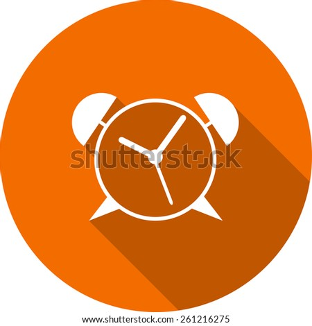 Vector Flat Icon of alarm clock. Isolated on stylish color background. Element with a long shadow. Modern illustration for web and mobile. - stock vector
