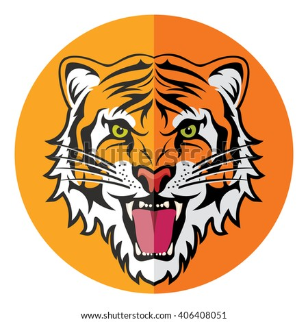 vector flat icon of stylized face of angry tiger  - stock vector