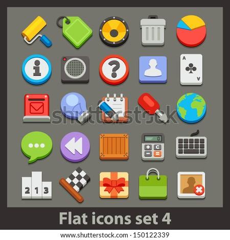 vector flat icon-set 4 - stock vector