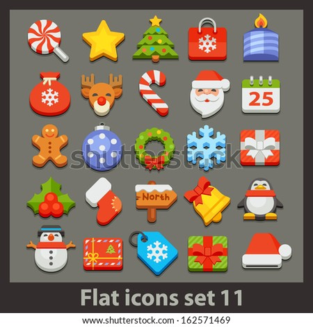 vector flat icon-set 11 - stock vector