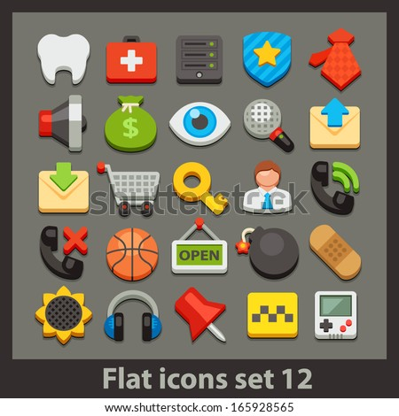 vector flat icon-set 12 - stock vector