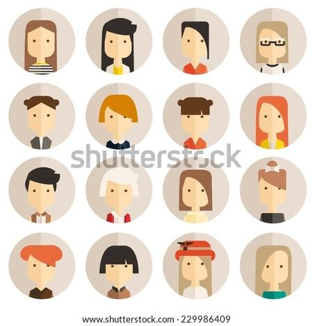 Vector flat icon set avatar people  - stock vector