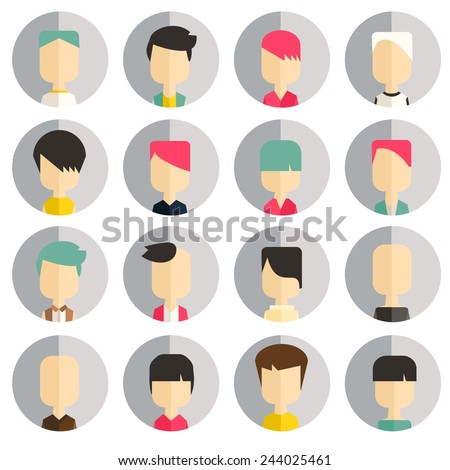 Vector flat icon set avatar people  - stock vector