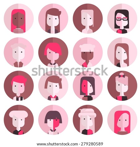 Vector flat icon set avatar people in modern colors. Pink. - stock vector