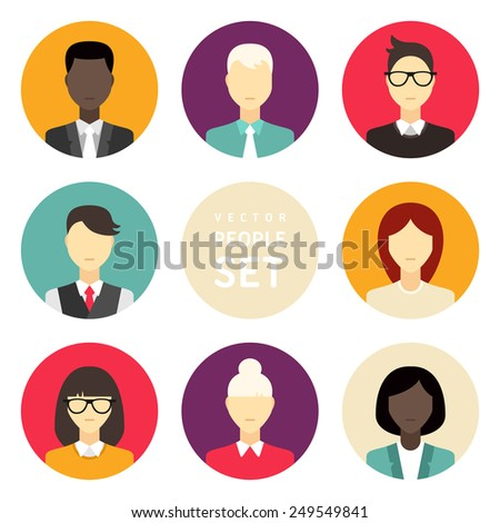 Vector flat icon set. Different people character, male, female, businessman