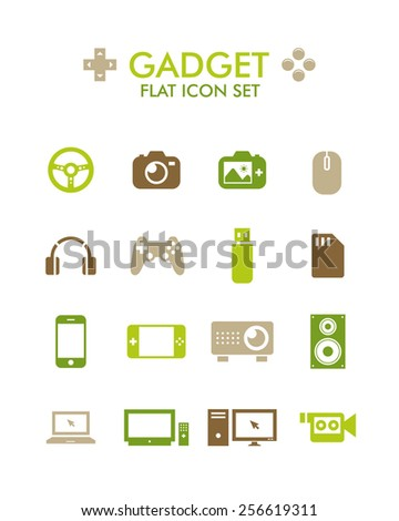 Vector Flat Icon Set - Gadget - stock vector