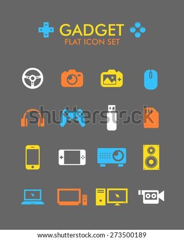 Vector Flat Icon Set - Gadget  - stock vector