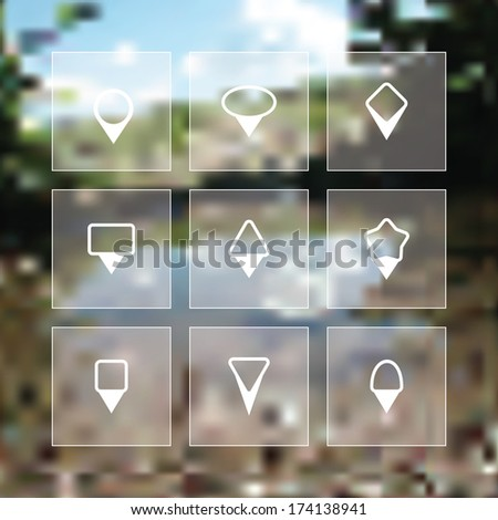 Vector flat icon set - map pin collection - stock vector