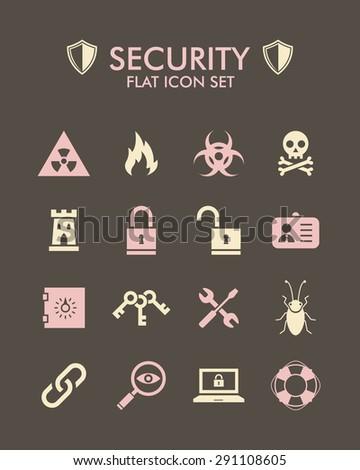 Vector Flat Icon Set - Security  - stock vector