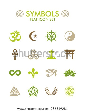 Vector Flat Icon Set - Symbols - stock vector