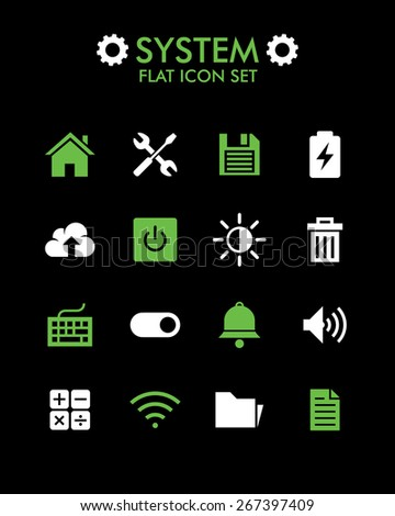 Vector Flat Icon Set - System