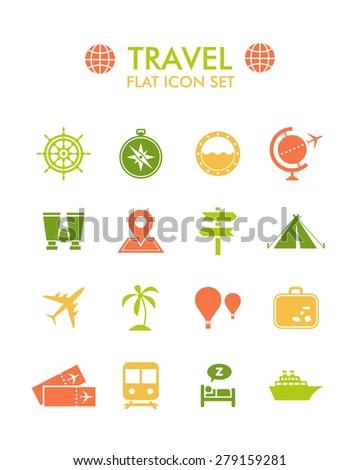 Vector Flat Icon Set - Travel  - stock vector