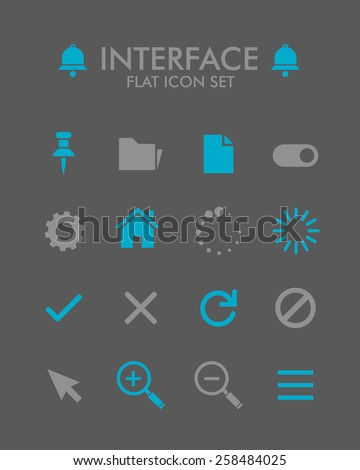 Vector Flat Icon Set - User Interface  - stock vector