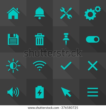 Vector Flat Icon Set - User Interface  - stock vector