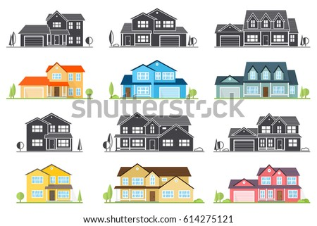 Vector Flat Icon Suburban American House. For Web Design And Application  Interface, Also Useful